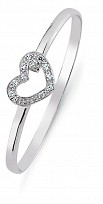 Children's Silver Cubic Zirconia Heart Bangle