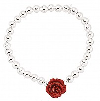 Children's Silver Bead Bracelet With A Red Rose Accent