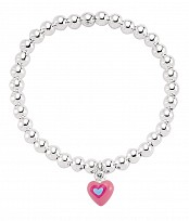 Small Silver Ball Bracelet with Pink Heart Bracelet