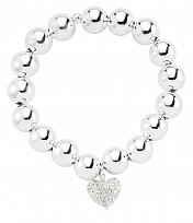 Silver Ball Bracelet with Crystal Heart CZ