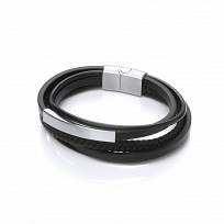 Gents Stainless Steel & Black Leather Plait Bracelet