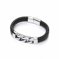 Gents Curb Link Stainless Steel & Black Leather Bracelet