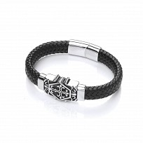 Gents Stainless Steel Design & Black Leather Bracelet