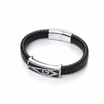 Gents Stainless Steel 'G' Design & Black Leather Bracelet