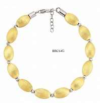 Gold Plated Silk Oval Bead Bracelet