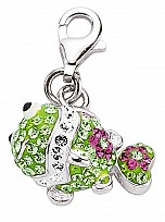 Silver Green & White Crystal Fish Charm
