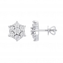 9ct White Gold Diamond Star Stud Earrings
