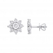 9ct White Gold Diamond Flower Stud Earrings