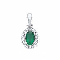 9ct White Gold Diamond & Emerald Pendant