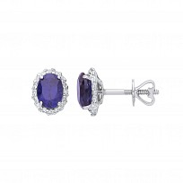 9ct White Gold Diamond & Sapphire Stud Earrings