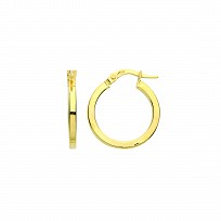 9ct Gold 15mm Square Tube Hoop Earrings