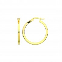 9ct Gold 18mm Square Tube Hoop Earrings