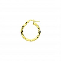 9ct Gold 15mm Twist Hoop Earrings