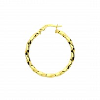 9ct Gold 24mm Twist Hoop Earrings
