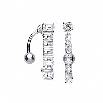 Silver Cubic Zirconia Line Drop Navel Bar