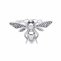 Silver CZ Fly Bug Brooch