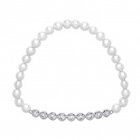 White Freshwater Pearl Bracelet With Silver Rubover CZ's