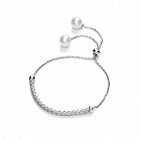 Silver Fancy Rope Bar Adjustable Bracelet With Pearl Detail