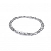 Silver Fancy Diamond Cut Bead Bracelet With CZ Catch