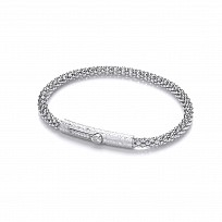 Silver Fancy Correana Bracelet With CZ Clip On Catch