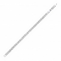 Silver Cluster Tennis Bracelet With 1 Inch Extension