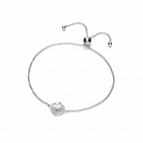 Silver Swarovski Hexagon Style Adjustable Bracelet