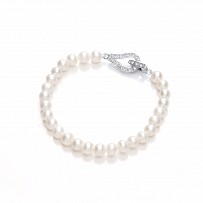 Silver CZ & Fresh Water Pearl Ladies Bracelet