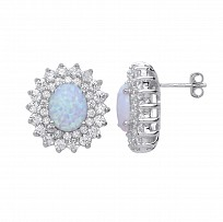 Silver CZ White Claw Set Studs With A Opal Stone Centre