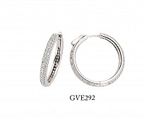 Silver Cubic Zirconia 2 Row Hoops With Lock