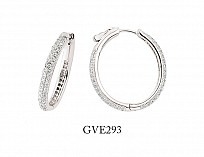 Silver Cubic Zirconia 3 Row Hoops With Lock