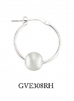 Silver Hoop Earrings With A Rhodium Plated Satin Bead