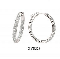 Silver Micro Pave 3 Row Hoops With Lock