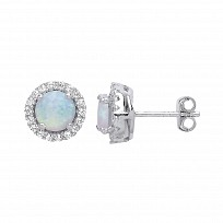 Silver CZ Opal Cluster Stud Earrings