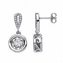 Silver CZ Floating Solitaire Stone Fancy Drop Earrings