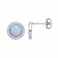Silver CZ White & Opal Stud Earrings