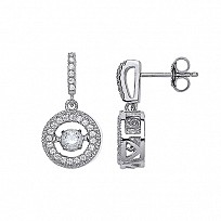 Silver CZ Fancy Floating Stone Drop Earrings