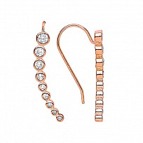 Rose Gold Plated CZ Cuff Wrap Earrings
