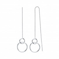 Silver Double Circle Chain Drop Earrings