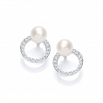 Silver CZ & Fresh Water Pearl Circle Stud Earrings