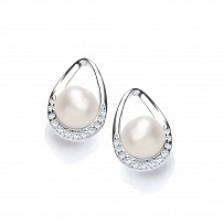 Silver CZ & Fresh Water Pearl Stud Earrings