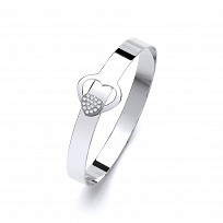 Silver Fancy Hook Bangle With CZ Heart Detail
