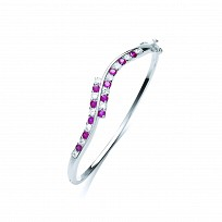 Silver White CZ & Ruby Alternate Stones Twist Bangle
