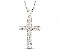 Silver Cross with Colourless CZ and Amethyst CZ on reverse. Chain included
