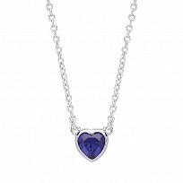 Silver Ladies Necklace With Sapphire Heart Pendant