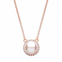 Rose Gold Plated CZ & Freshwater Pearl Pendant Necklace
