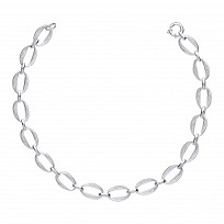 Silver Ladies Fancy Oval Double Link Necklace
