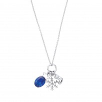 Silver Necklace With Sapphire Pendant & Snowflake Charm