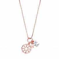 Rose Gold Plated Necklace With CZ, Star & Flower Charms