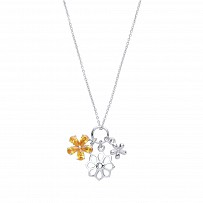 Silver Fancy Flower Necklace With Citrine Stones