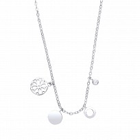 Silver Fancy Circle & Flower Charm Necklace